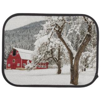 Fresh snow on red barn car mat