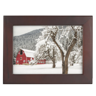Fresh snow on red barn keepsake box