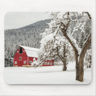 Fresh snow on red barn mouse mat