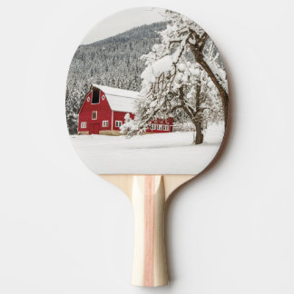 Fresh snow on red barn ping pong paddle