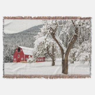 Fresh snow on red barn throw blanket