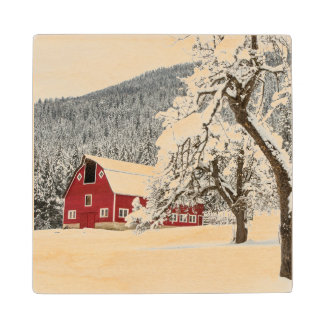 Fresh snow on red barn wood coaster