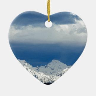 Fresh snow on the Kamnik Alps Ceramic Heart Decoration