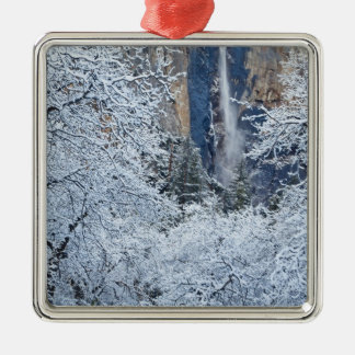Fresh snowfall in the trees below Bridalveil Christmas Ornament