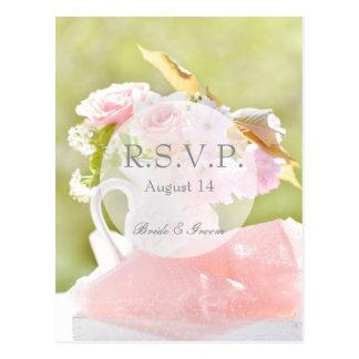 Fresh Spring Flower Bouquet Wedding RSVP Postcard