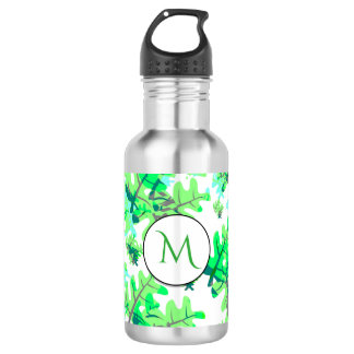 Fresh Spring Green Leaves Pattern Monogram 532 Ml Water Bottle