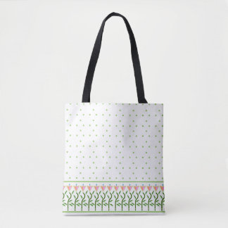 Fresh Spring tulip border topped with mint spots Tote Bag