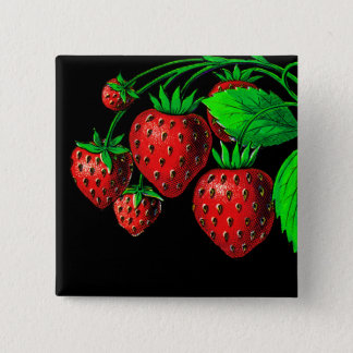 Fresh Strawberries 15 Cm Square Badge
