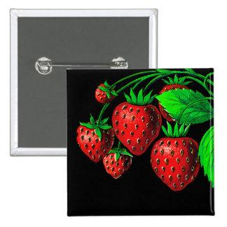 Fresh Strawberries 15 Cm Square Badge