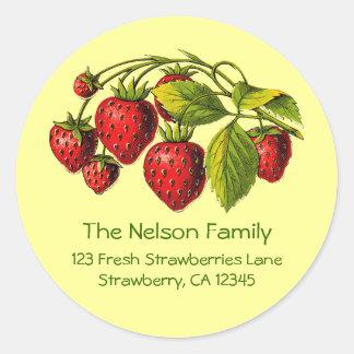 Fresh Strawberries Address Label Classic Round Sticker
