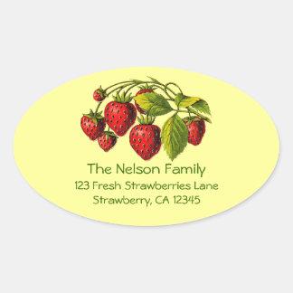 Fresh Strawberries Address Label Oval Sticker
