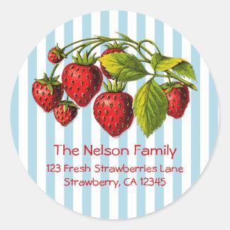 Fresh Strawberries Blue Stripes Round Sticker