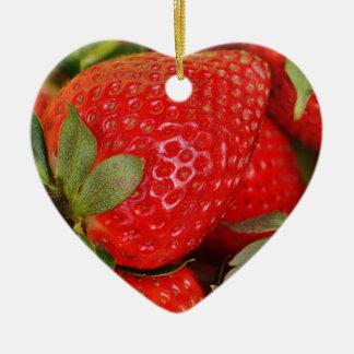 Fresh strawberries ceramic heart decoration