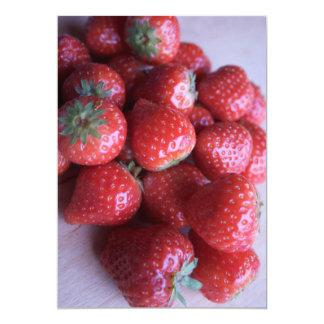 Fresh Strawberries Closeup 13 Cm X 18 Cm Invitation Card
