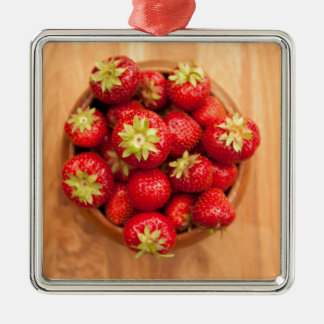 Fresh strawberries in wood bowl christmas ornament