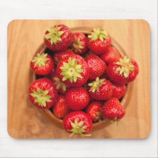 Fresh strawberries in wood bowl mouse mat
