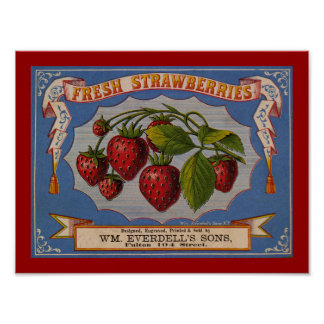 Fresh Strawberries Label Poster