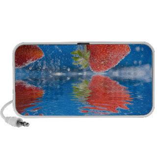 Fresh Strawberries Splashing Into Water Speakers