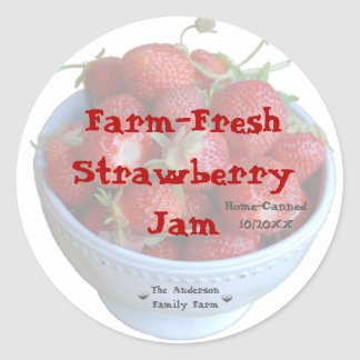 Fresh Strawberry Jam Jar Label (Customize)
