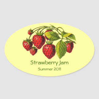 Fresh Strawberry Preserves Label Oval Sticker