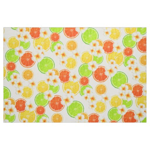 Fresh Summer Fruits and Exotic Plumeria Flowers Fabric