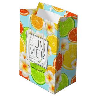 Fresh Summer Fruits and Exotic Plumeria Flowers Medium Gift Bag