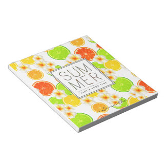 Fresh Summer Fruits and Exotic Plumeria Flowers Notepad