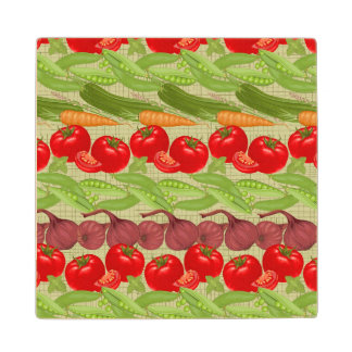 Fresh Vegetable Pattern Wood Coaster