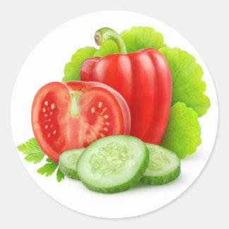 Fresh vegetables round sticker