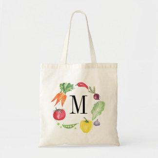 Fresh Vegetables Watercolor Monogram