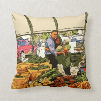 Fresh Veggies at the Farmers Market Cushion