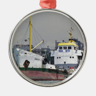 Fresh Water Tanker Silver-Colored Round Decoration