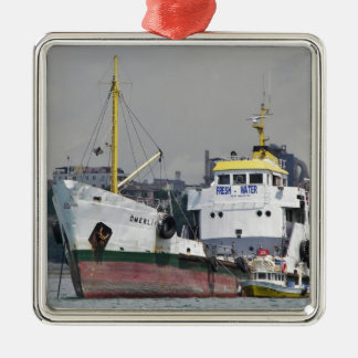 Fresh Water Tanker Silver-Colored Square Decoration