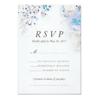 Fresh Watercolor Light Blue Floral Boho RSVP Card