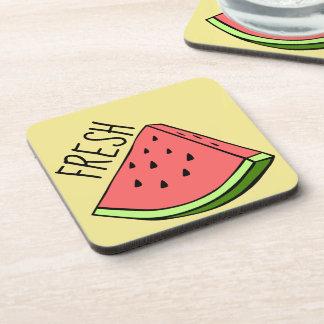 Fresh Watermelon Plastic coasters w/cork back