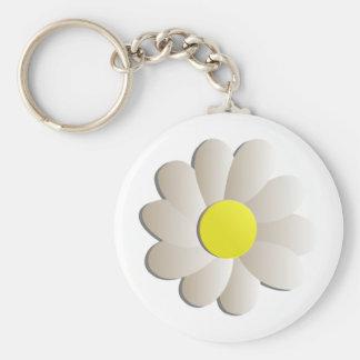 FRESH WHITE DAISY FLOWER, SPRING TIME FLOWER KEY RING