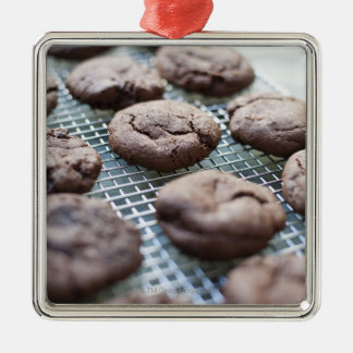Freshly Baked Gluten-free Chocolate Cookies Silver-Colored Square Decoration