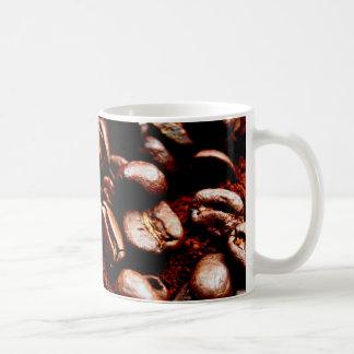Freshly ground coffee and beans basic white mug