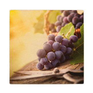 Freshly Harvested Grapes Wood Coaster