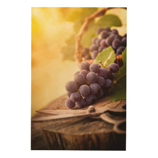 Freshly Harvested Grapes Wood Wall Decor