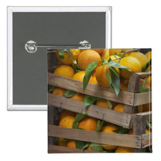 freshly picked oranges 15 cm square badge
