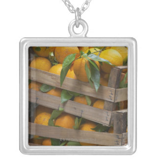 freshly picked oranges silver plated necklace
