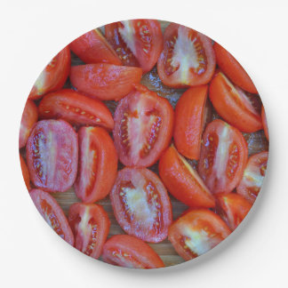 Freshly sliced tomatoes paper plate