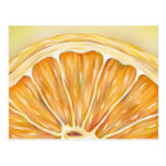 """Freshly squeezed"" orange slice postcard"