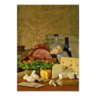 Freshness and fantasia at the meat counter 13 cm x 18 cm invitation card