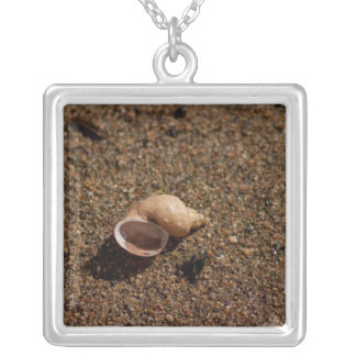 Freshwater Snail Shell; No Text Square Pendant Necklace