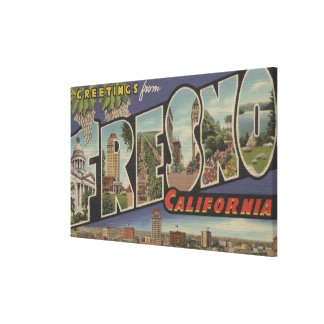 Fresno, California - Large Letter Scenes Gallery Wrapped Canvas