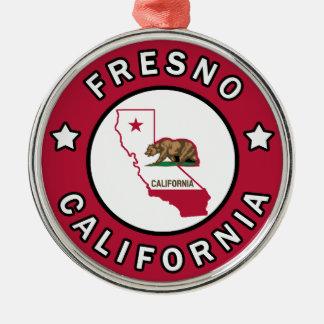 Fresno California Silver-Colored Round Decoration