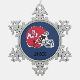 Fresno State Helmet Mark Snowflake Pewter Christmas Ornament