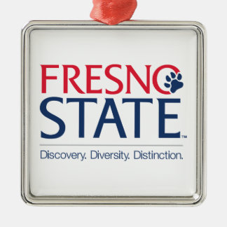 Fresno State Institutional Mark Square Metal Christmas Ornament